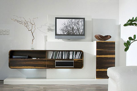 wohnwand mit tv lift pictures. Black Bedroom Furniture Sets. Home Design Ideas